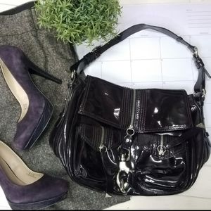 FRANCESCO BIASIA DARK PLUM PATENT LEATHER HANDBAG!